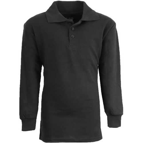 Case of [36] Boy's Black Long Sleeve Pique Polo Shirts - Sizes 8-14