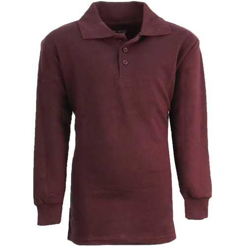 Case of [36] Boy's Burgundy Long Sleeve Pique Polo Shirts - Sizes 8-14
