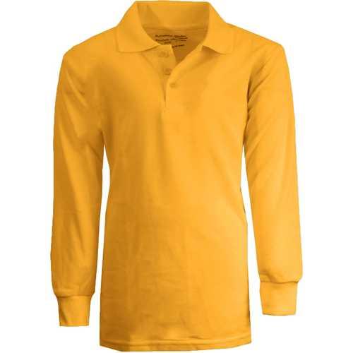 Case of [36] Boy's Gold Long Sleeve Pique Polo Shirts - Sizes 16-20