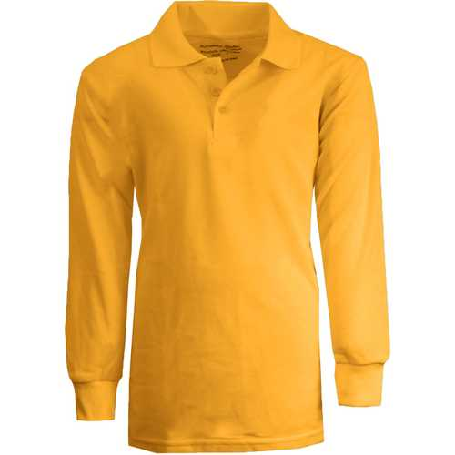 Case of [36] Boy's Gold Long Sleeve Pique Polo Shirts - Sizes 4-7