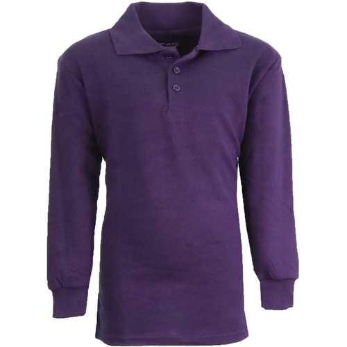 Case of [36] Boy's Grape Long Sleeve Pique Polo Shirts - Sizes 8-14