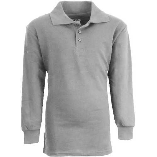 Case of [36] Boy's Heather Grey Long Sleeve Pique Polo Shirts - Sizes 8-14