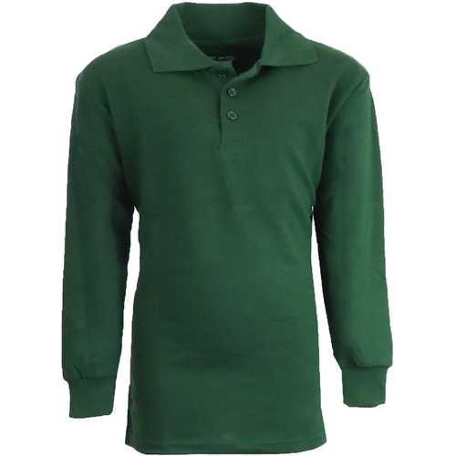 Case of [36] Boy's Hunter Green Long Sleeve Pique Polo Shirts - Sizes 8-14