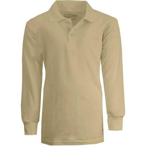 Case of [36] Boy's Khaki Long Sleeve Pique Polo Shirts - Sizes 4-7