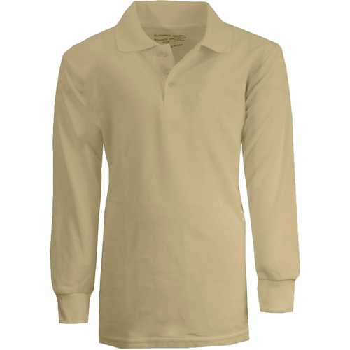 Case of [36] Boy's Khaki Long Sleeve Pique Polo Shirts - Sizes 8-14