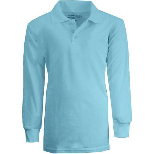 Case of [36] Boy's Light Blue Long Sleeve Pique Polo Shirts - Sizes 8-14