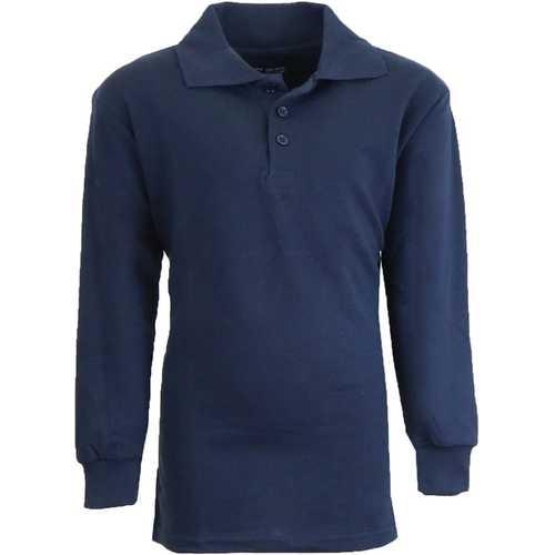 Case of [36] Boy's Navy Long Sleeve Pique Polo Shirts - Sizes 8-14
