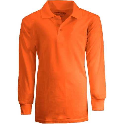 Case of [36] Boy's Orange Long Sleeve Pique Polo Shirts - Sizes 16-20
