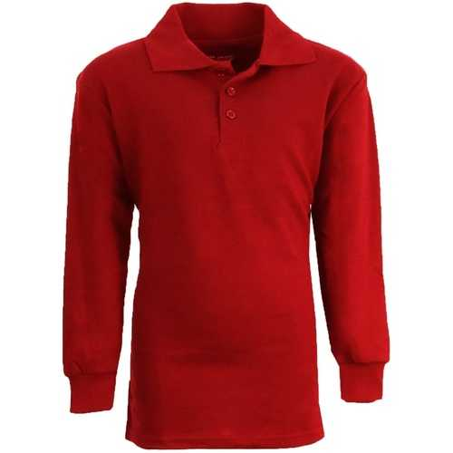 Case of [36] Boy's Red Long Sleeve Pique Polo Shirts - Sizes 8-14