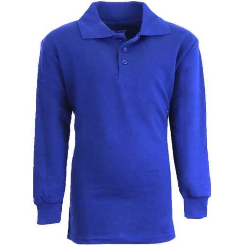 Case of [36] Boy's Royal Long Sleeve Pique Polo Shirts - Sizes 8-14