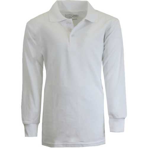 Case of [36] Boy's White Long Sleeve Pique Polo Shirts - Sizes 8-14