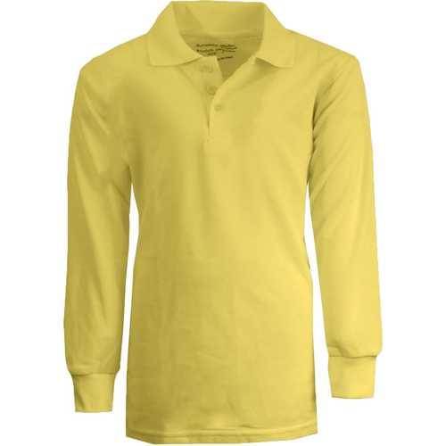 Case of [36] Boy's Yellow Long Sleeve Pique Polo Shirts - Sizes 4-7