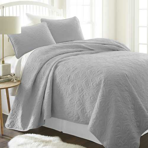 Case of [9] King Premium Damask Pattern Quilted Coverlet Set - Gray