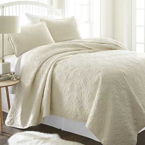 Case of [9] King Premium Damask Pattern Quilted Coverlet Set - Ivory