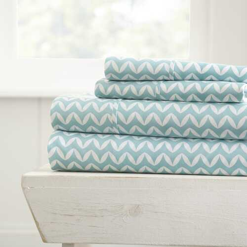 Case of [16] Soft Essentials? Premium Ultra Soft 4 Piece Puffed Chevron Bed Sheet Set - Full - Light Gray
