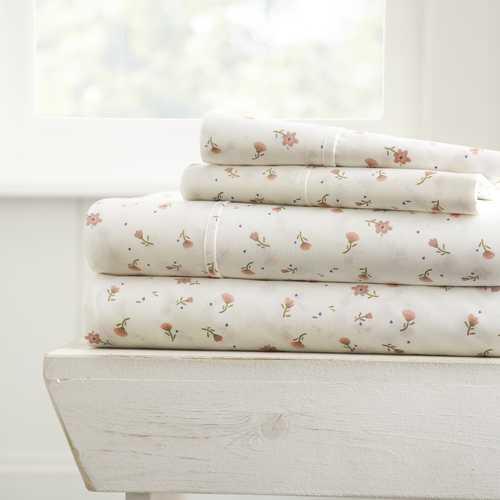 Case of [16] Queen Premium 4 Piece Soft Floral Bed Sheet Set - Light Blue
