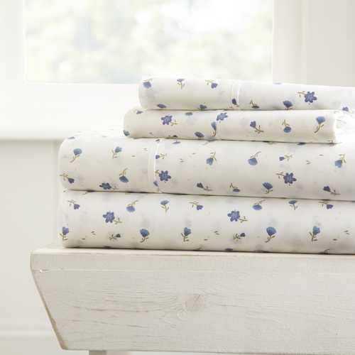 Case of [16] Queen Premium 4 Piece Soft Floral Bed Sheet Set - Pink