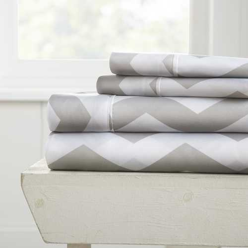 Case of [12] California King Premium Arrow Pattern 4 Piece Bed Sheet Set - Gray