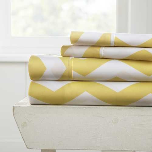 Case of [12] California King Premium Arrow Pattern 4 Piece Bed Sheet Set - Yellow