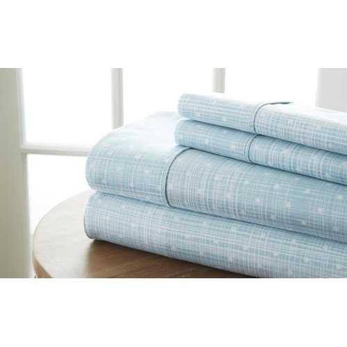 Case of [12] California King Premium Polka Dot Pattern 4 Piece Bed Sheet Set - Aqua