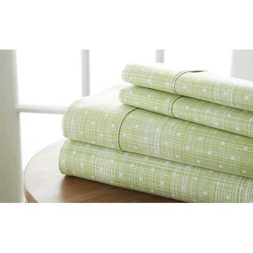 Case of [12] California King Premium Polka Dot Pattern 4 Piece Bed Sheet Set - Moss