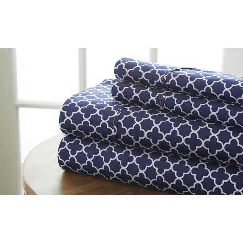 Case of [12] California King Premium Quadrafoil Pattern 4 Piece Bed Sheet Set - Navy