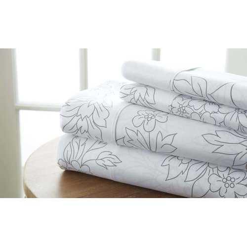 Case of [12] California King Premium Vine Pattern 4 Piece Bed Sheet Set - Gray