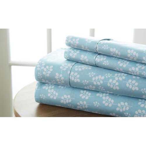 Case of [12] California King Premium Wheat Pattern 4 Piece Bed Sheet Set - Pale