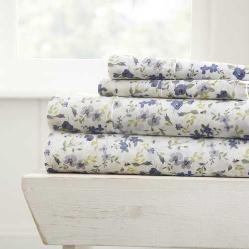 Case of [16] King4 Piece Blossom Print Bed Sheet Set - Light Blue
