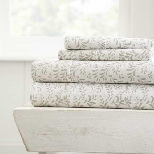 Case of [16] California King4 Piece Burst of Vine Print Bed Sheet Set - Light Gray