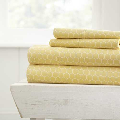 Case of [16] King4 Piece Honey Comb Bed Sheet Set - Yellow
