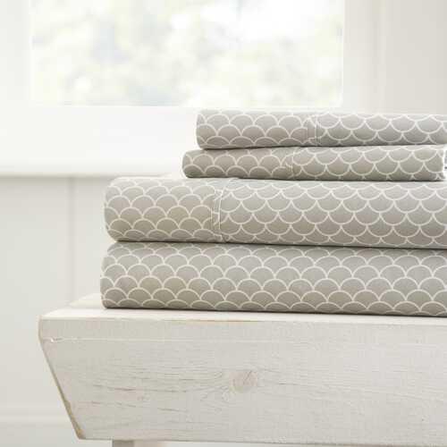 Case of [16] Soft Essentials? Ultra Soft 4 Piece Scallops Print Bed Sheet Set - King - Light Gray