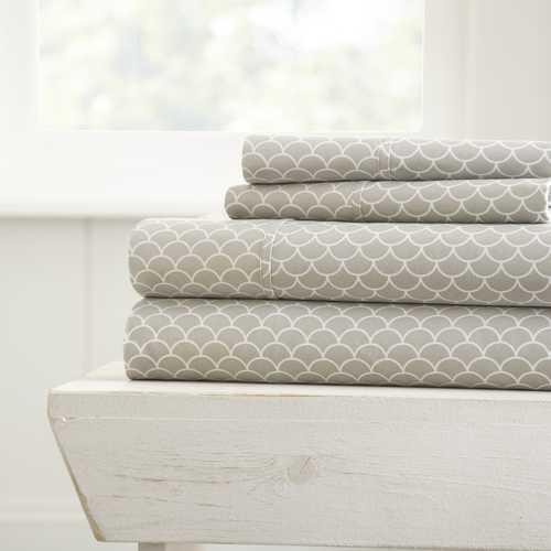 Case of [16] Queen4 Piece SlopPrint Bed Sheet Set - Light Gray