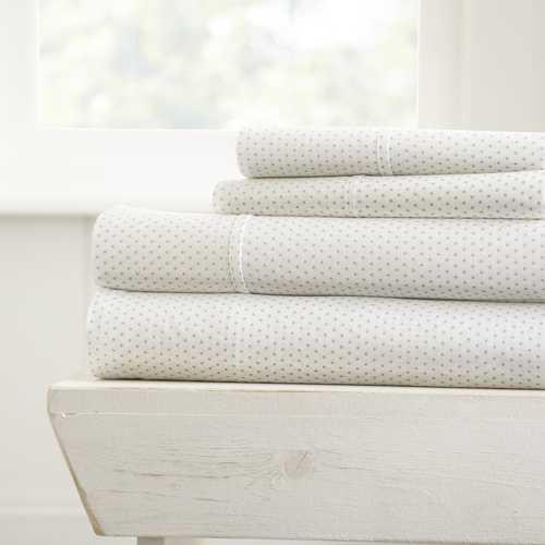 Case of [16] Soft Essentials? Ultra Soft 4 Piece Stippled Bed Sheet Set - California King - Gray