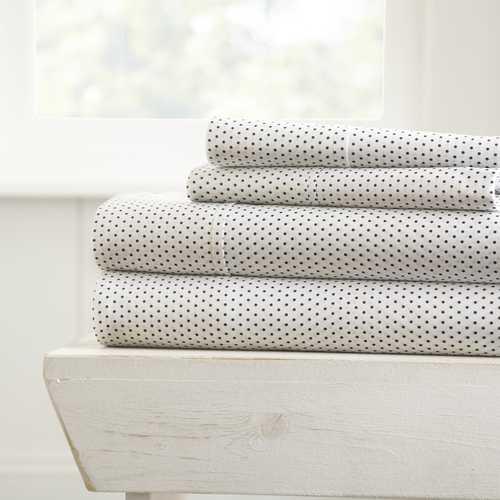 Case of [16] California King4 Piece Stippled Bed Sheet Set - Light Gray