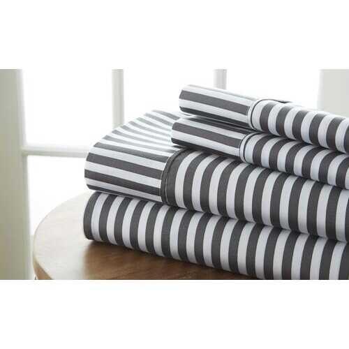 Case of [12] California King Premium Ribbon Pattern 4 Piece Bed Sheet Set - Gray
