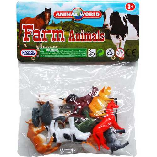 "Case of [108] 10-Piece 2"" Assorted Farm Animals"