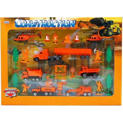 Case of [12] 24-Piece Diecast Metal Construction Play Set