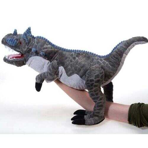 "Case of [8] 20"" Embossed Grey Carnotaurus Hand Puppet Plush Toy"