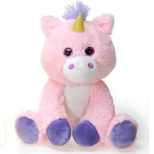 """Case of [24] 9.5"""" Sitting Unicorn Plush Toy - Pink"""