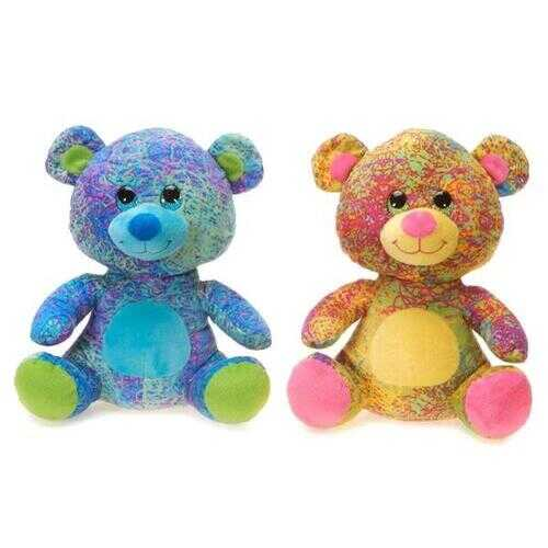 """Case of [24] 10.5"""" Scribbleez Sitting Bear Plush Toy - Assorted Colors"""