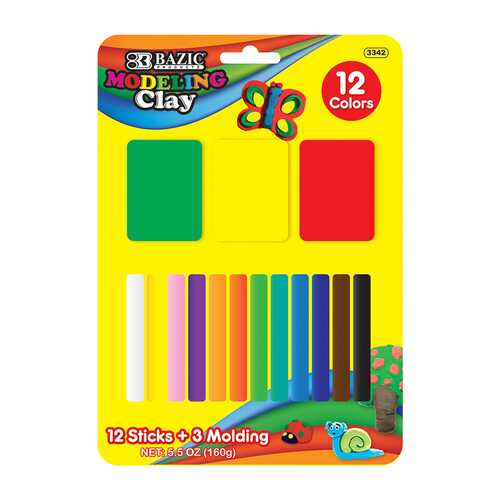 Case of [24] 12 Colors 160g Modeling Clay Sticks + 3 molds