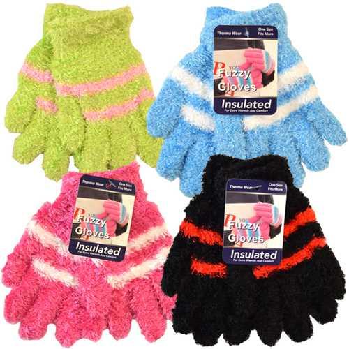 Case of [144] Kids' Stripe Fuzzy Insulated Gloves