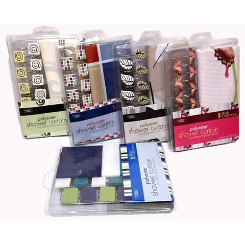 Case of [12] Patterned Shower Curtain Sets with Hooks