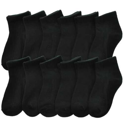 Case of [144] Toddlers Black Low Cut Trainer Socks Size 1-3 yrs