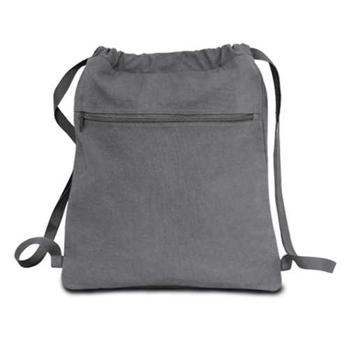 """Case of [48] 14"""" Classic Dyed Canvas Drawstring Backpack - Gray"""
