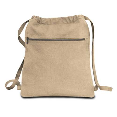 "Case of [48] 14"" Classic Dyed Canvas Drawstring Backpack - Khaki"