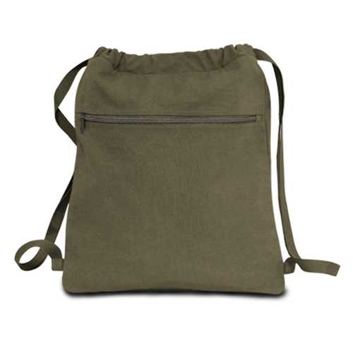 """Case of [48] 14"""" Classic Dyed Canvas Drawstring Backpack - Khaki Green"""