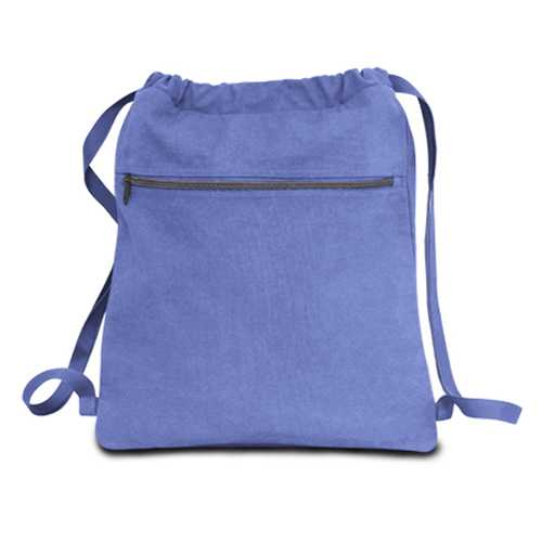 """Case of [48] 14"""" Classic Dyed Canvas Drawstring Backpack - Periwinkle"""