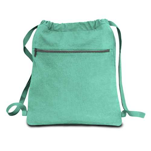 """Case of [48] 14"""" Classic Dyed Canvas Drawstring Backpack - Sea Glass Green"""